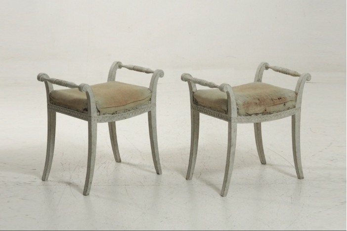 Pair of Swedish stools, 19th C