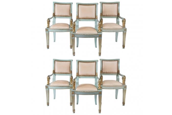 6 Parcel-Gilt Armchairs