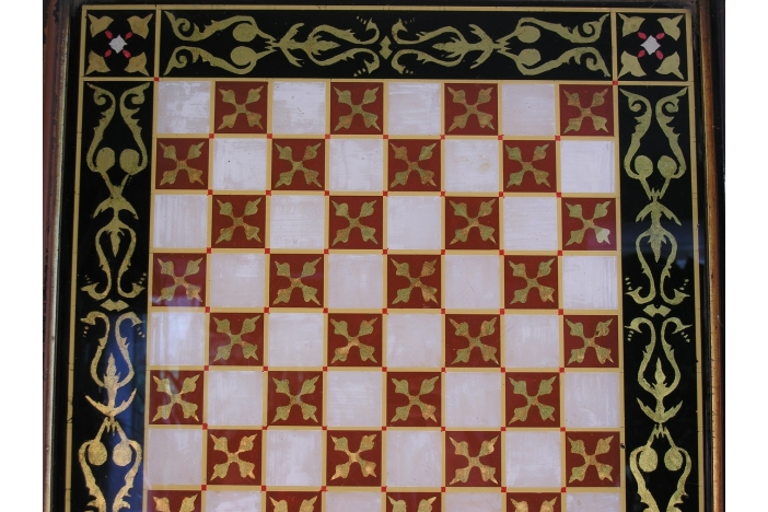 19th C. GLASS CHESS BOARD