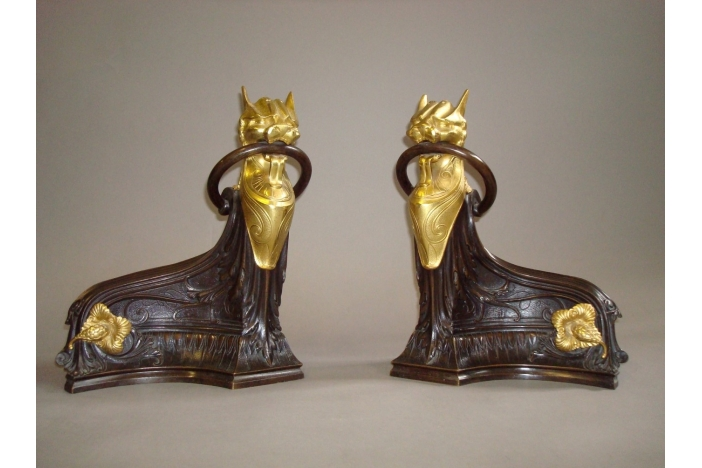 Pair of  Bronze Chenets