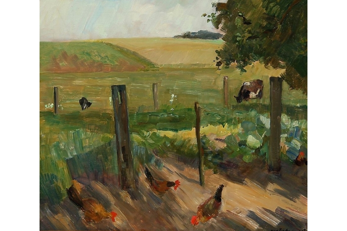 """Landscape with chickens"""