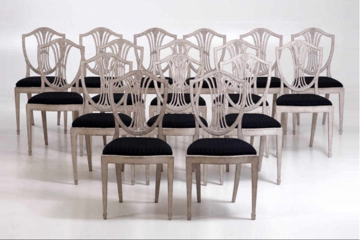 16 Gustavian side-chairs,