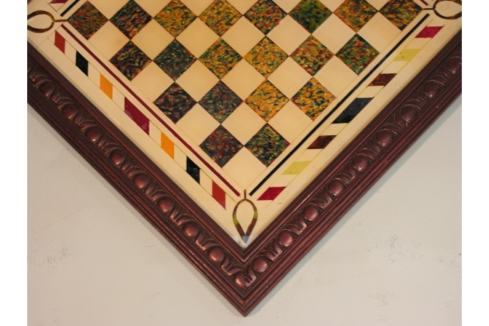 FOLK ART GLASS CHESS BOARD