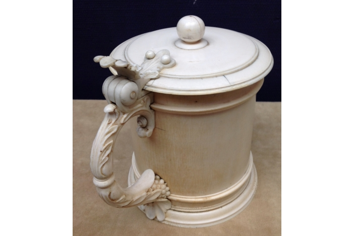 IVORY COVERED TANKARD