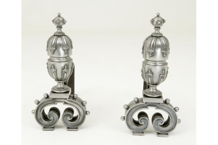 Pair of cast iron andirons