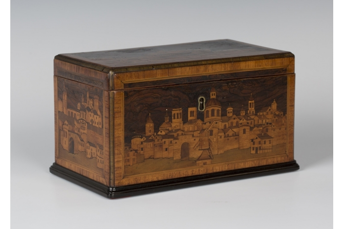 18th c. marquetry casket