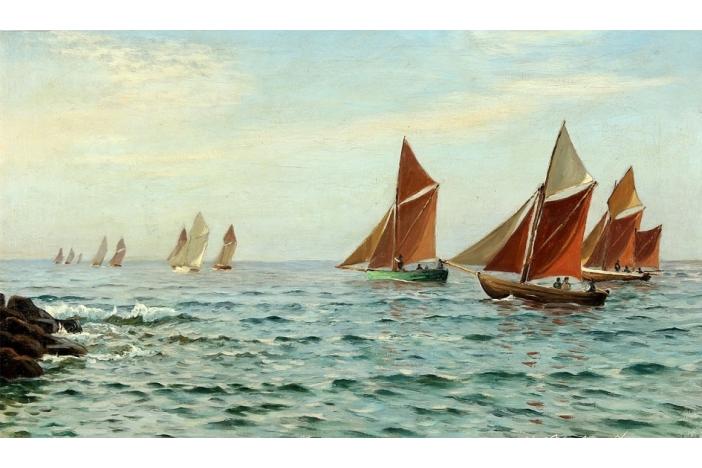 """Sailing boats along the cost"""
