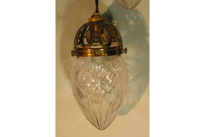 PAIR CUT GLASS PENDANT LIGHTS