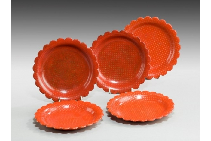 Antique red trays