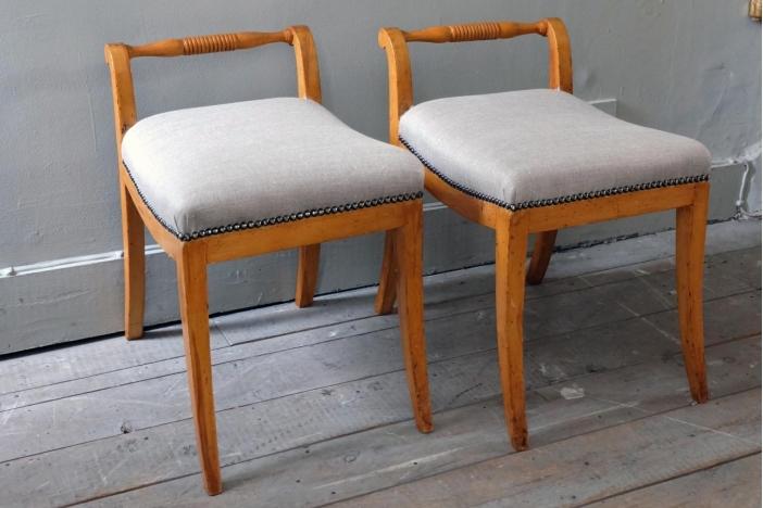 Pair of Swedish Birch Stools