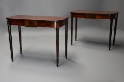 Pair mahogany console tables