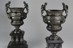 Pair of late 19thc bronze urns