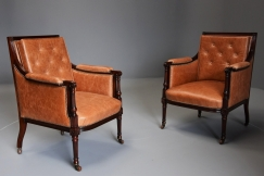 Pair of bergere library chairs