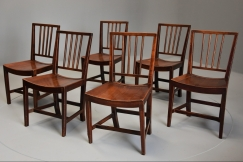 Set of six fruitwood chairs
