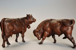 Pair 19thc Black Forest cows
