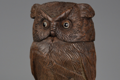 19thc Black Forest owl jar
