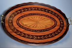 Edwardian oval inlaid tray