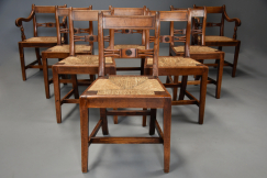Set of eight 19thc elm chairs
