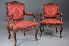 Pair French walnut fauteuils