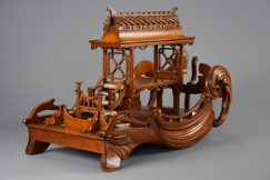 Asian carved model pagoda boat