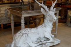 Garden statue , concrete deer