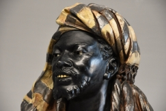 19thc life size bust of Nubian