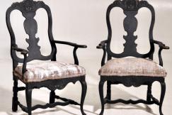 Rococo armchairs, 19th C.