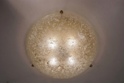 Brass flush light glass shade