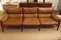 A three seat leather sofa