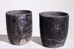 Iron garden vases, 19th C.