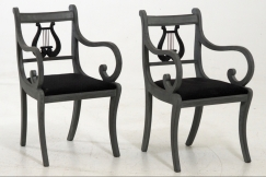 Pair of lyre-back chairs
