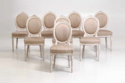 12 Gustavian chairs, 19th C.