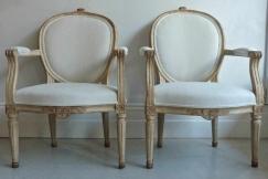 Pair Gustavian Style Armchairs