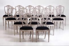 16 Gustavian side-chairs,