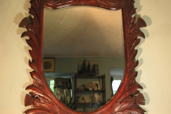 19TH C. MAHOGANY WALL MIRROR