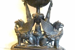 Carved wood urn